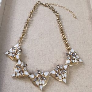 Statement necklace gold rhinestone white and gray